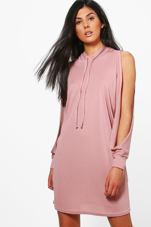Cold Shoulder Fine Knit Hoody Dress  pink