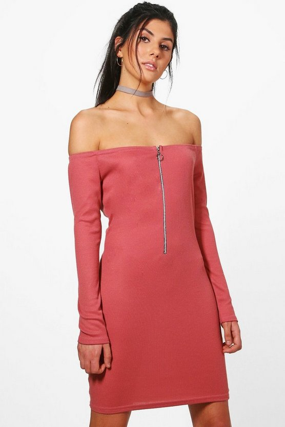 Amber Off The Shoulder Zip Up Rib Dress