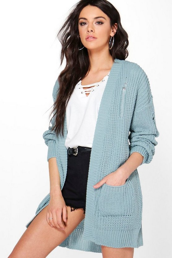 Savannah Ladder Back Distressed Cardigan