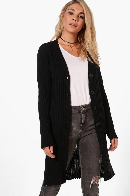 Rosie Oversized Rib Button Cardigan