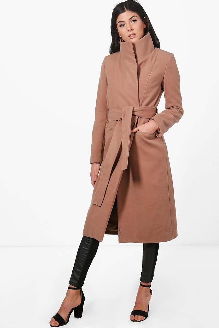 Niamh Funnel Neck Wool Coat