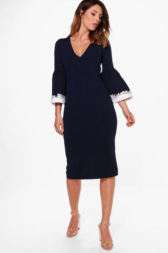 Erin Crochet Frill Sleeve Fitted Midi Dress