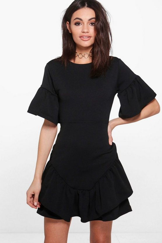 Lucy Frill Hem Detail Belted Bodycon Dress