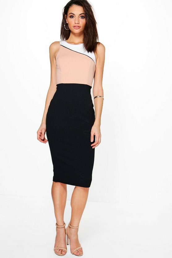 Ruth Panelled Colour Block Midi Dress