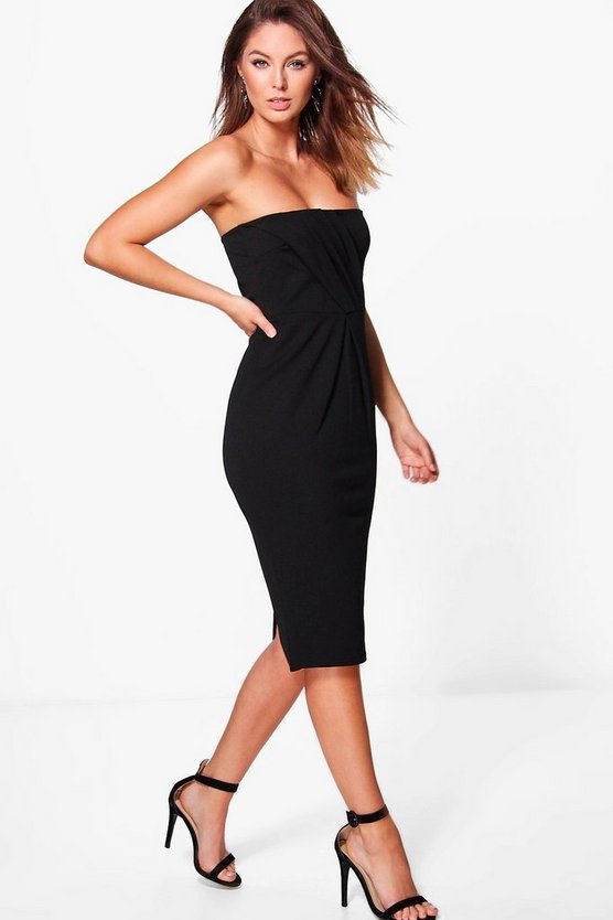 Sara Pleat Top Bandeau Midi Dress