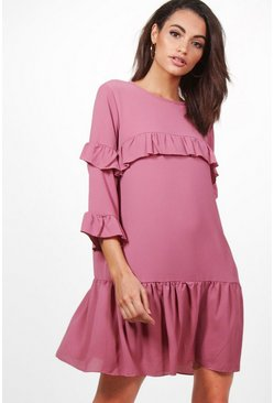 Shay Frill Detail 3/4 Sleeve Shift Dress