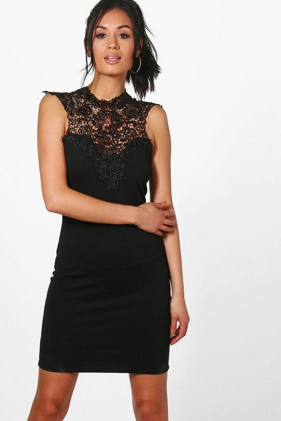 Emma Lace Trim Midi Bodycon Dress