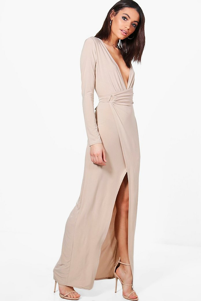 Erin Slinky Wrap Detail Maxi Dress