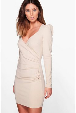 Liza Slinky Wrap Long Sleeve Bodycon Dress