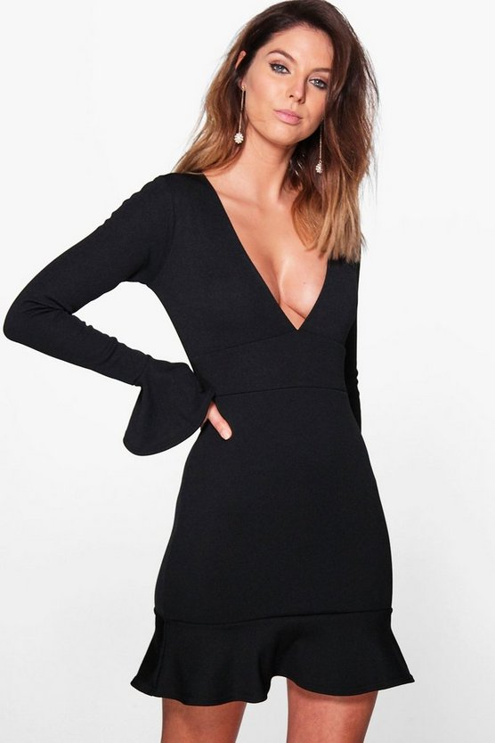 Rhian Flute Sleeve Bandage Bodycon Dress