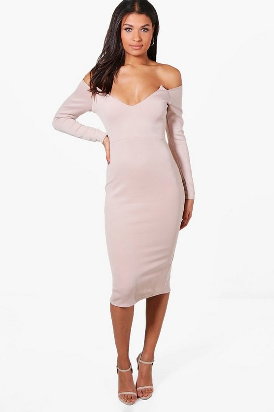 Reeva Off Shoulder Neck Detail Midi Dress