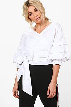 Charlotte Wrap Front Ruffle Shirt