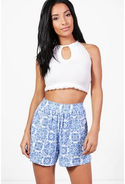 Lisa Porcelain Print Flippy Shorts