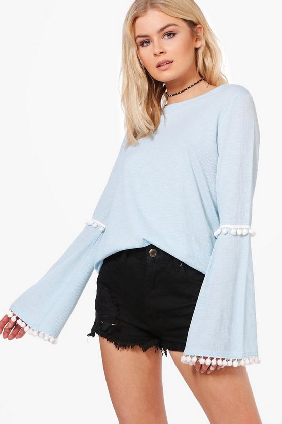 Erin Pom Trim Flare Sleeve Top