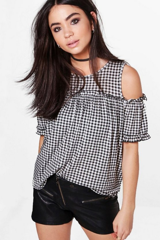 Madison Gingham Ruffle Detail Top