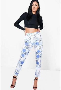 Ines Floral Skinny Stretch Trousers