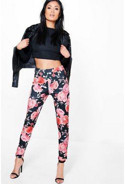 Raya Floral Skinny Stretch Trousers