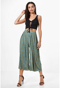 Anah Bohemian Print Pleated Slinky Wide Leg Culottes