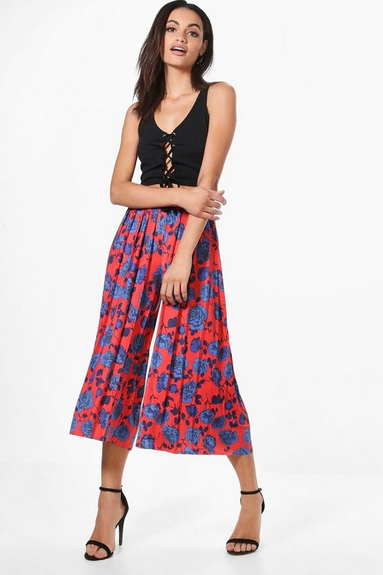 Aura Floral Pleated Slinky Wide Leg Culottes