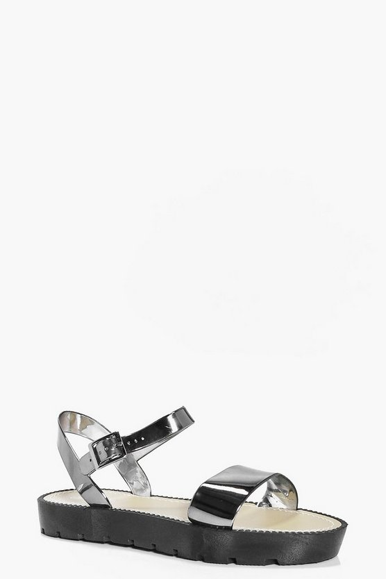 Lilly Cleated Two Part Metallic Sandal