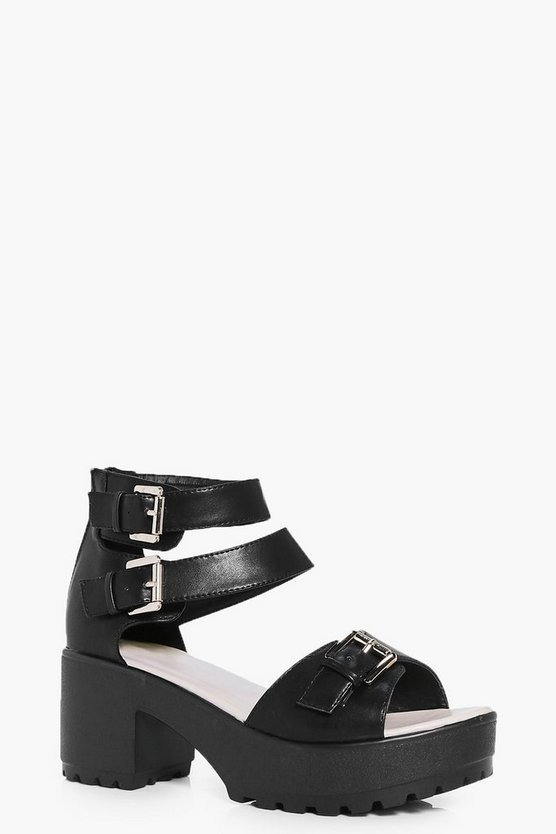 Imogen Buckle Trim Cleated Peeptoe Sandal