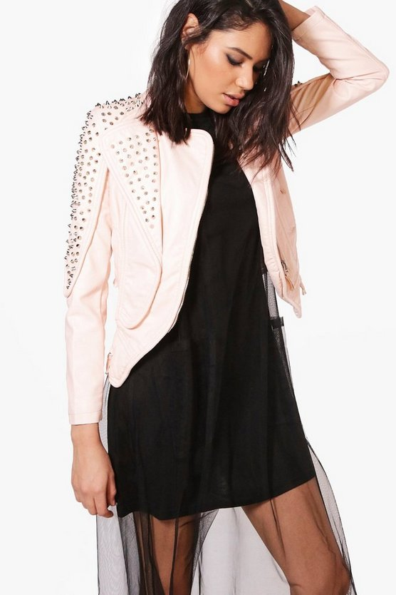 Bella Boutique Studded Biker Jacket