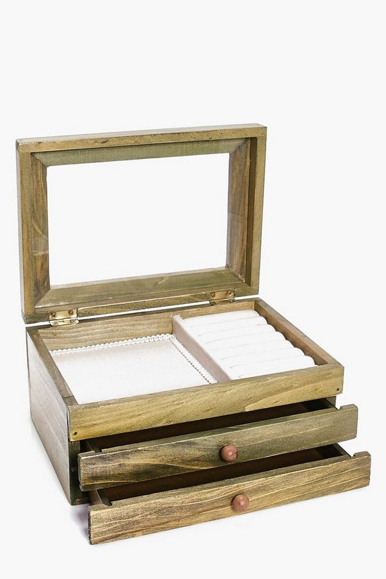 Wooden Jewellery Box With Drawers