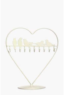 Vintage Heart Bird Wire Jewellery Stand
