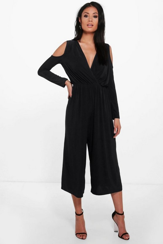Cold Shoulder Skinny Culotte Jumpsuit