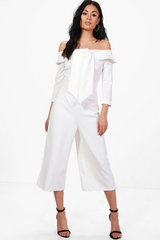 Anna Tie Front Off The Shoulder Culotte Jumpsuit