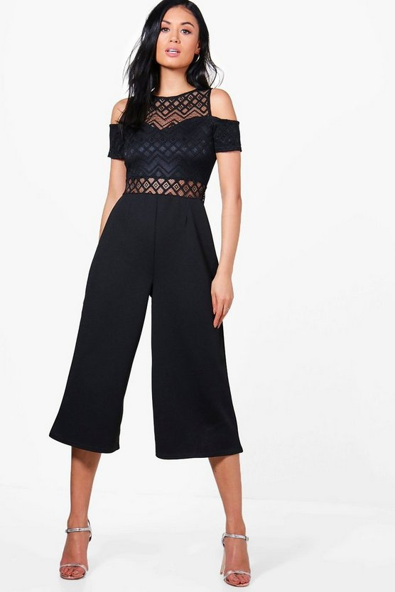 Ruby Lace Cut Side Culotte Jumpsuit