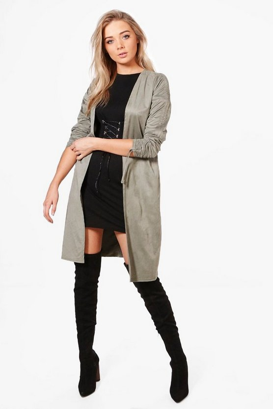 Livia Ruched Sleeve Suedette Duster