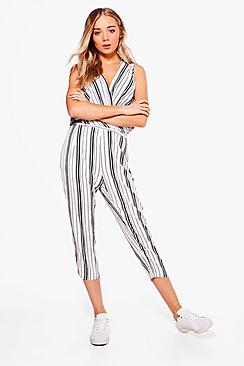 Sally Stripe Cross Over Jumpsuit