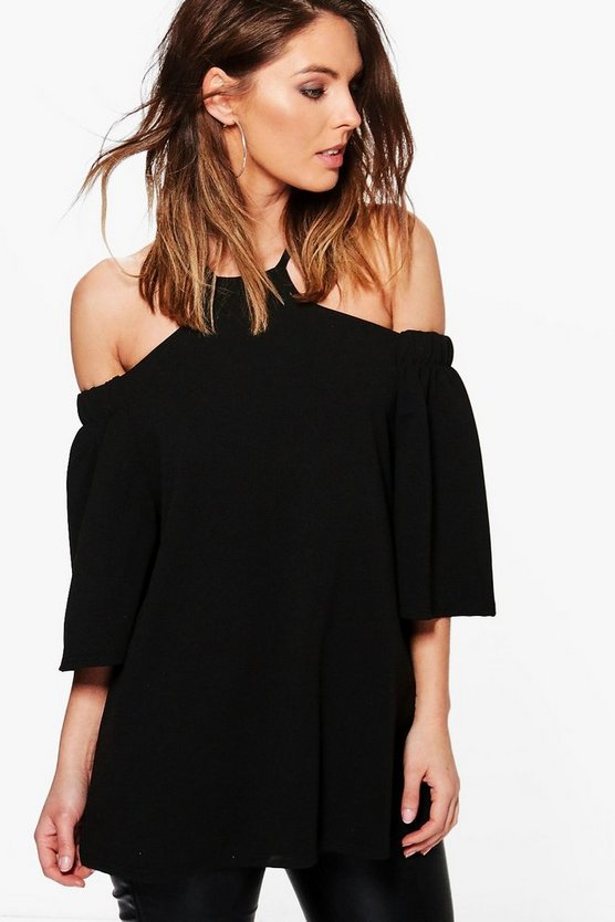 Lilly Cold Shoulder Flare Sleeve Crepe Top