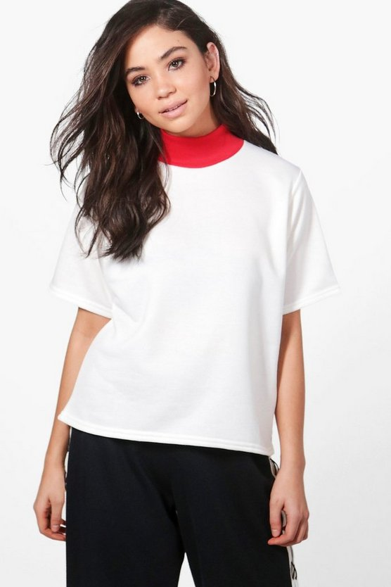Tara Contrast Neck Sweat Top