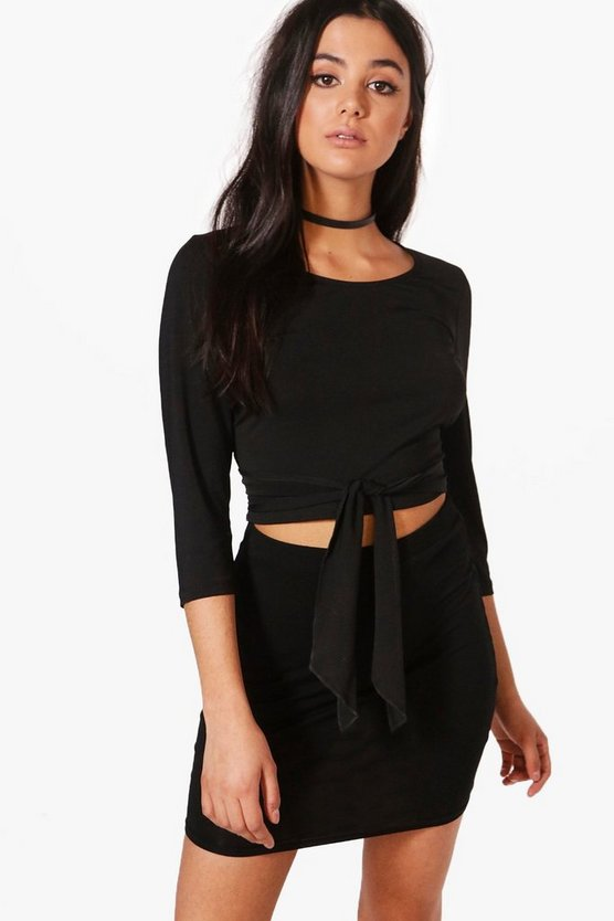 Ciara 3/4 Sleeve Cross Waist Crop