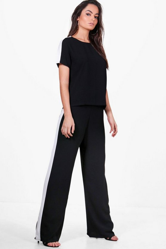 Eliza Stripe Side Wide Leg Trouser