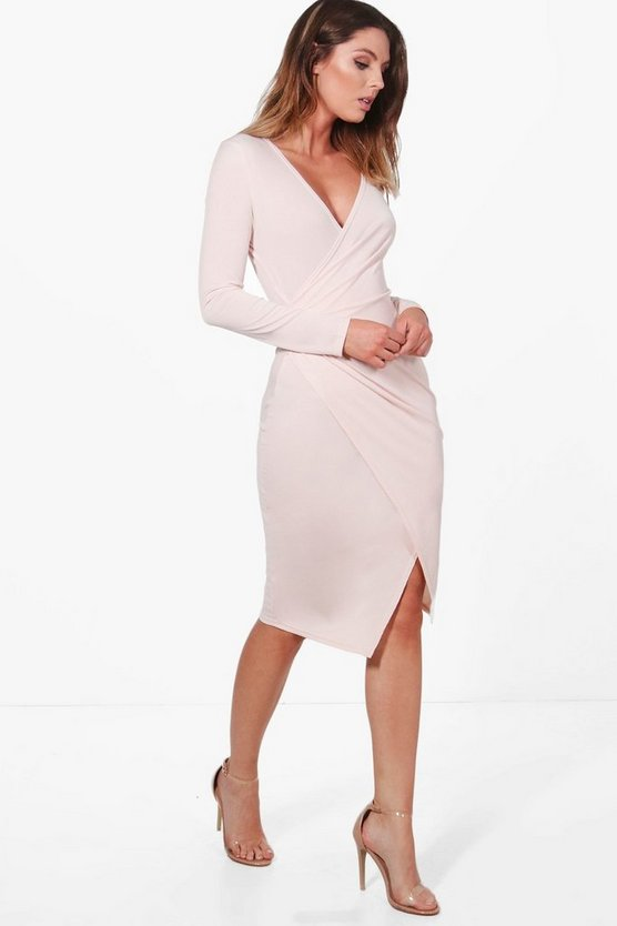 Camilla Ruched Wrap Over Tailored Dress