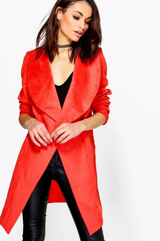 Grace Suedette Over Sized Collar Duster