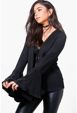 Olivia Pleated Flare Sleeve Collarless Blazer