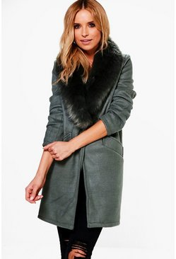 Alana Wool Look Faux Fur Collar Coat