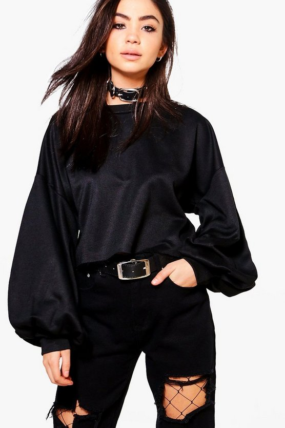 Paige Balloon Sleeve Slash Hem Sweatshirt