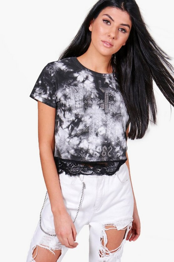 Layla Tie Dye Lace Trim Sleeveless Crop