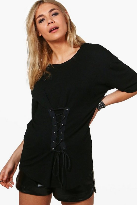Sophia Lace Up Detail Oversized T-Shirt