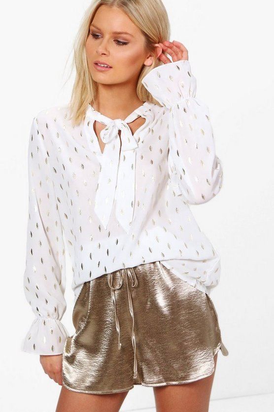 Nikki Metallic Tie Neck Woven Blouse