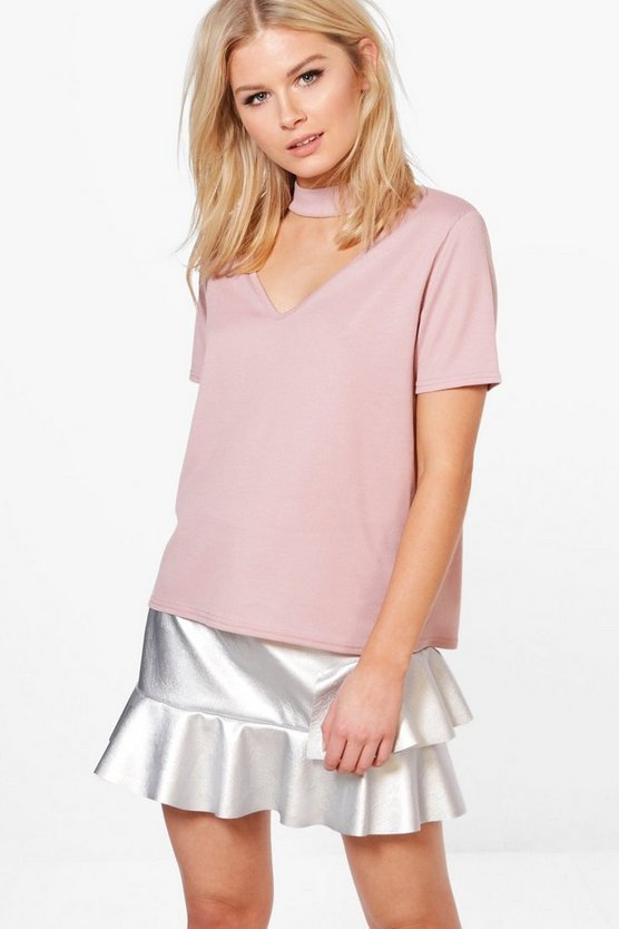 Holly Basic Rib Choker T Shirt
