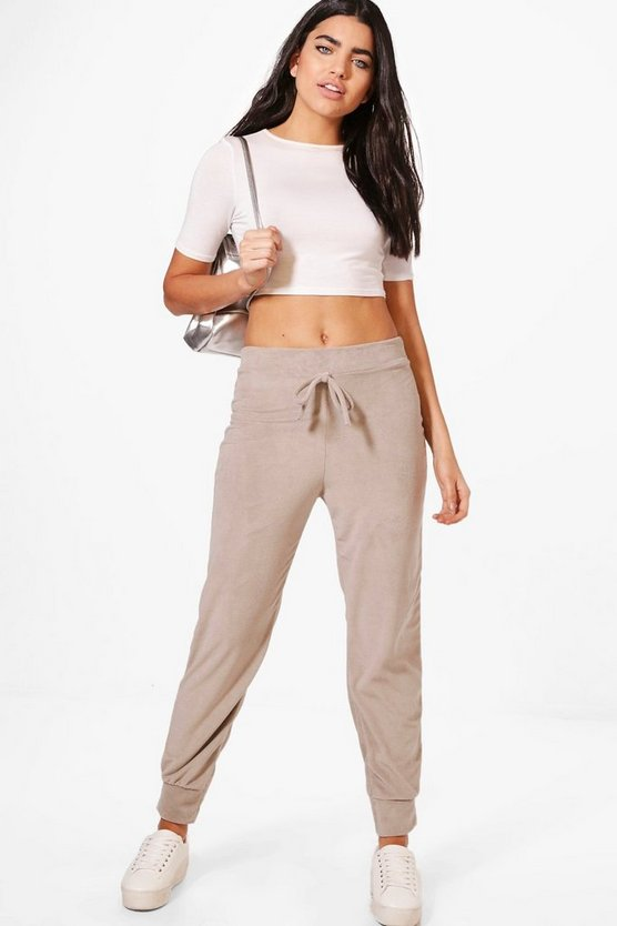 Savannah Velour Basic Tie Waist Joggers