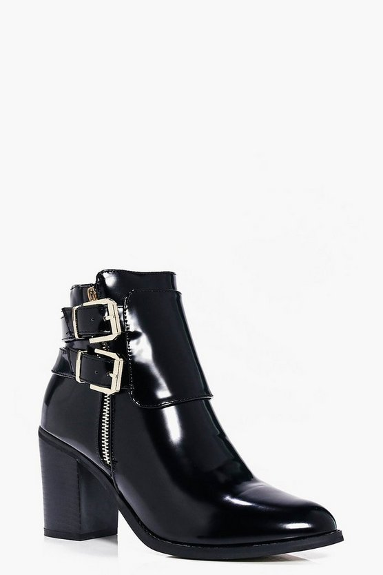 Lola Double Buckle Block Heel Boot
