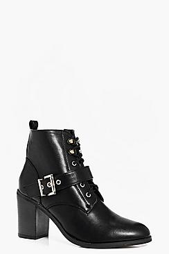 Phoebe Buckle Trim Lace Up Block Heel Boot