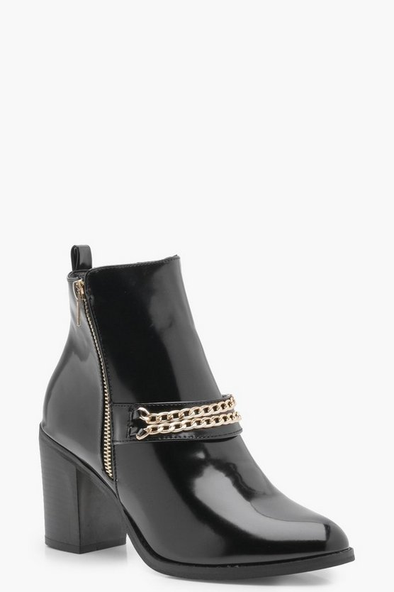 Emma Hi Shine Chain Trim Block Heel Boot